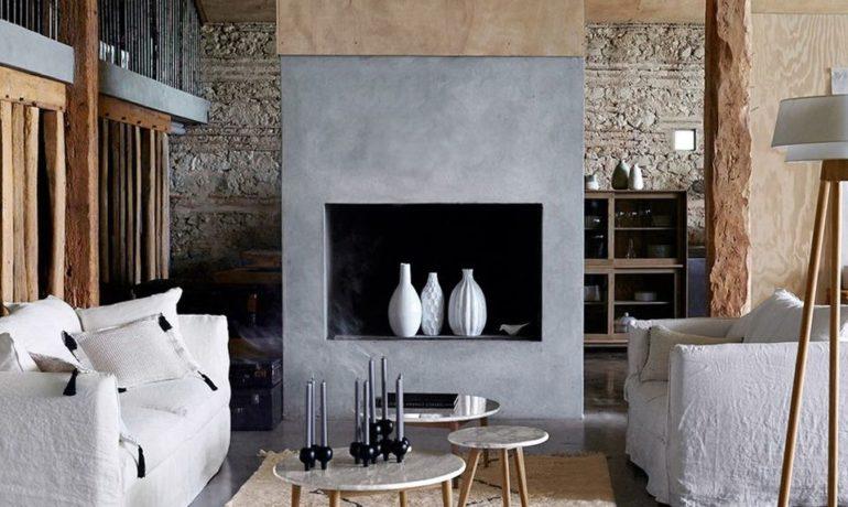decoration-intérieur-beton-cheminée