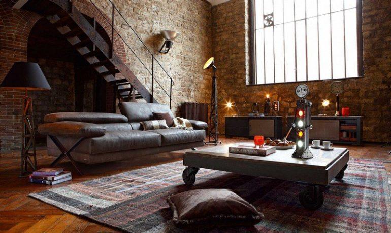 table-basse-style-industriel-bois-massif-roulettes-tapis-colore-canape-cuir-mur-pierre-naturelle